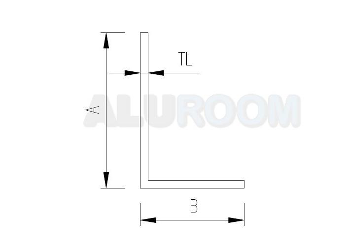 Hliníkový profil extrudovaný - Hliníkový L profil 20 x 30 x 2 mm extrudovaný