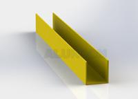 Hliníkový profil extrudovaný - U profil 3D barva RAL