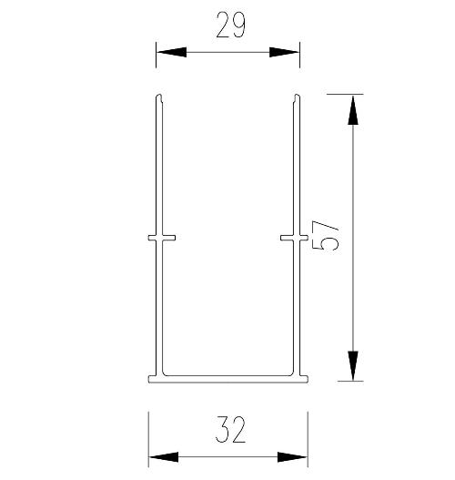 U profil pro zapuštěnou vodící lištu rolety
